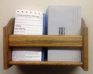 Tithing (Latter Day Saints) - Tithing forms and envelopes used in the LDS Church
