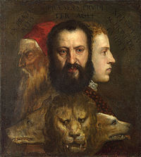 The Allegory of Age Governed by Prudence (c.1565–1570) is thought to depict Titian, his son Orazio, and a young cousin, Marco Vecellio.