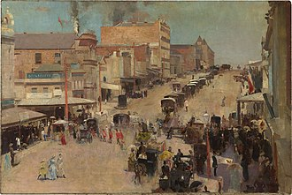Bourke Street, Melbourne - Bourke Street (1886) by Tom Roberts, oil on canvas on composition board.