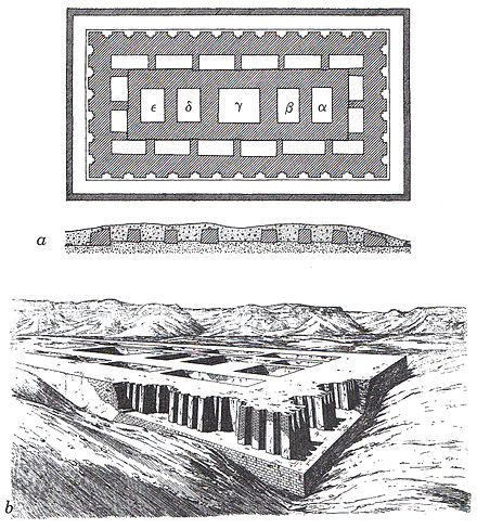 Mastaba attributed to Neithhotep which is believed to have been built by Hor-Aha. Tombe-Nagada-de-Morgan.jpg