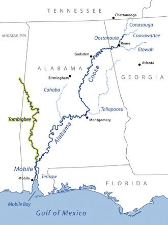 Tombigbee River - Image: Tombigbeerivermap