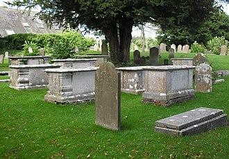 All Saints Church, Patcham - There are many old chest-tombs in the churchyard.