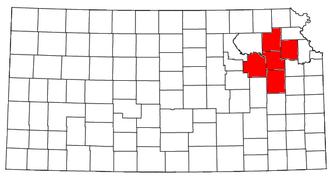 Topeka, Kansas metropolitan area - Location of the Topeka Metropolitan Statistical Area in Kansas