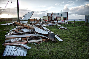 Omata - Clubrooms of the New Plymouth Clay Target Club near Omata destroyed by a tornado