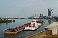 Towboat Valvoline upbound with empty tank barges in Portland Canal Louisville Kentucky USA Ohio River mile 605 1987 file 87i075.jpg