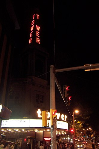 Tower Theater (Upper Darby Township, Pennsylvania) - The nighttime scene outside a 2007 Kelly Clarkson concert at the Tower Theater