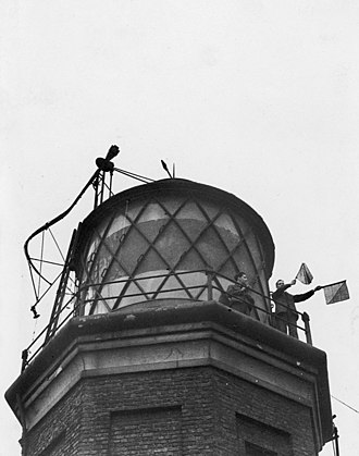 Orchard House Yard - Lighthouse personnel being trained at Orchard Yard circa 1950