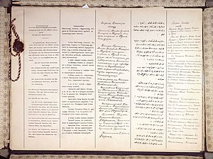 Treaty of Brest-Litovsk - The first two pages of the Treaty of Brest-Litovsk, in (from left to right) German, Hungarian, Bulgarian, Ottoman Turkish and Russian