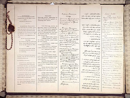 The first two pages of the Treaty of Brest-Litovsk, in (left to right) German, Hungarian, Bulgarian, Ottoman Turkish and Russian Traktat brzeski 1918.jpg