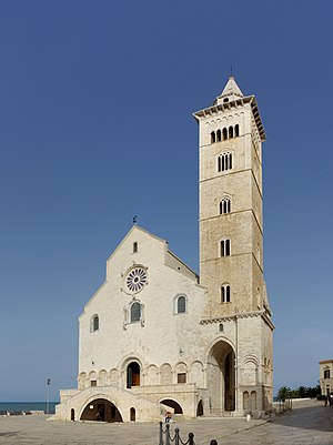 Trani Cathedral - West front of Trani Cathedral, with bell tower