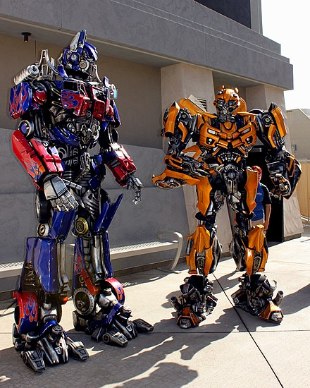 Transformers characters at Universal Studios Hollywood Transformers costume characters at Universal Studios Hollywood.jpg