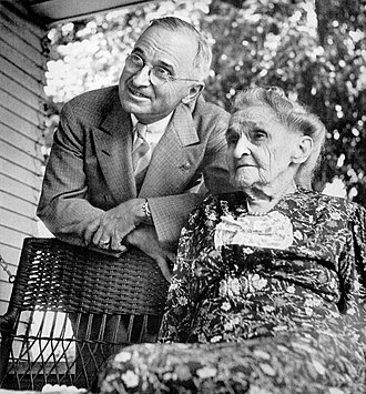 Harry S. Truman - Sen. Truman visits his mother in Grandview, Missouri, after being nominated the Democratic candidate for vice president (July 1944)