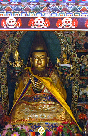 Gelug - Statue of Je Tsongkhapa, founder of the Gelugpa school, on the altar in His Temple (his birthplace) in Kumbum Monastery, near Xining, Qinghai (Amdo), China. Photo by writer Mario Biondi, July 7, 2006
