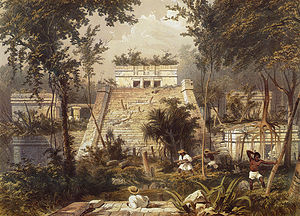 1844 in archaeology - Lithograph of ruins at Tulum, by Frederick Catherwood