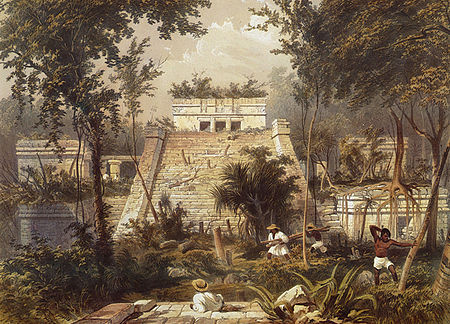 engraving of tulum ruins from 1844
