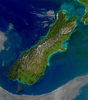 South Island - Satellite view of the South Island