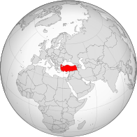 A map showing the location of Turkey