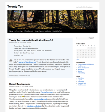 Screenshot of the WordPress Twenty Ten theme
