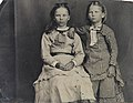 Two girls in chequered dresses, ca. 1856-1900. (4732550932).jpg