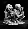 Two skeletons kneeling side by side. Wellcome M0004080.jpg
