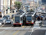 Two trains at Judah and 28th Avenue, February 2018.JPG