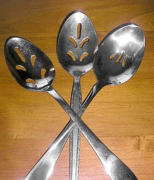 Slotted spoon - Three examples of typical stainless steel slotted spoons