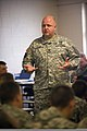 U.S. Army Capt. Robert Cline, judge advocate general for the 81st Troop Command, Indiana National Guard, gives a mobilization Uniformed Code of Military Justice brief to Soldiers at Camp Atterbury Joint Maneuver 110821-A-MG787-002.jpg