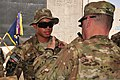 U.S. Army Lt. Gen. Mark Milley, right, the commander of the International Security Assistance Force, awards the Combat Infantryman Badge to Pfc. Brandon Morris, an infantryman with Charlie Company, 4th 130606-A-PV892-058.jpg
