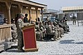 U.S. Army Maj. Gen. James C. McConville, at lectern, the commanding general of the 101st Airborne Division and Combined Joint Task Force 101, Regional Command East, speaks to Afghan National Security Forces 130725-A-UO630-004.jpg