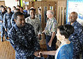 U.S. Sailors and Airmen assigned to Joint Base Pearl Harbor-Hickam, Hawaii, thank Carole and Jim Hickerson and Tim Guard after a prisoner of war event at the Joint Base Pearl Harbor-Hickam Memorial Chapel 130326-N-ZK021-007.jpg