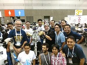 National Autonomous University of Mexico - UNAM's robotic team with Steve Wozniak at the 2017 Robocup in Japan.
