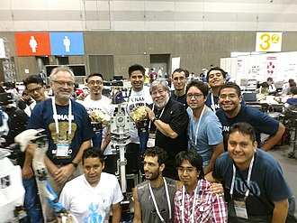 National Autonomous University of Mexico - UNAM's robotic team with Steve Wozniak at the 2017 Robocup in Japan.
