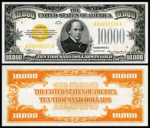 Gold certificate - A $10,000 1934 gold certificate depicting Salmon P. Chase. Image courtesy of the Smithsonian Institution.