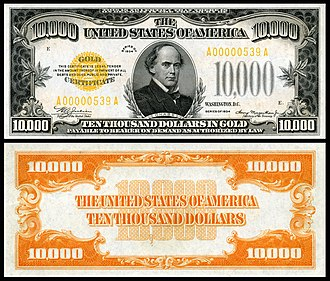 Gold certificate - A $10,000 1934 gold certificate depicting Salmon P. Chase, Smithsonian Institution
