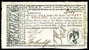 William Few - Few's signature on early American currency from Georgia (1778).