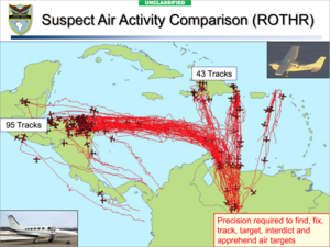 Illegal drug trade in Venezuela - Aircraft activity of drug trafficking suspects tracked by the United States Southern Command showing multiple drug flights from Venezuela in 2010.