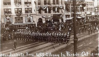 USS Albany (CL-23) - USS Albany bluejackets on parade during Portola Festival, San Francisco, Calif., 19 Oct. 1909