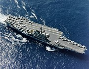 USS Coral Sea (CV-43) underway at sea in 1986