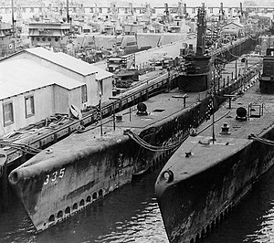 USS Dentuda (SS-335) at the Mare Island Naval Shipyard on 17 October 1946.jpg