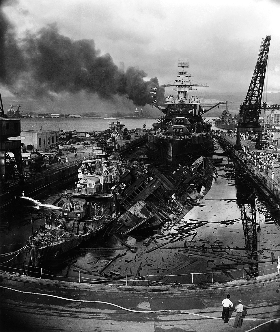 USS Downes (DD-375), USS Cassin (DD-372) and USS Pennsylvania (BB-38) in Dry Dock No. 1 at the Pearl Harbor Naval Shipyard, 7 December 1941 (306533)