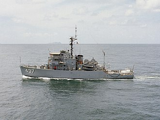 USS Enhance (AM-437) - Image: USS Enhance (MSO 437) underway in 1977