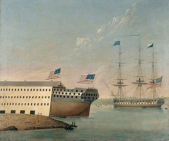 USS Congress (1799) - Congress at the Portsmouth Naval Shipyard attending the launch of the USS Washington, on October 1, 1814