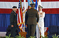 US Navy 021002-N-2383B-527 Admiral Edmund P. Giambastiani, Jr. (right), receives the command flag during a change of command ceremony.jpg