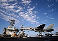 US Navy 050317-N-2984R-232 An F-14B Tomcat, assigned to the Swordsmen of Fighter Squadron Three Two (VF-32), lands on the flight deck aboard the Nimitz-class aircraft carrier USS Harry S. Truman (CVN 75).jpg