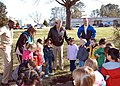 US Navy 050404-N-1467K-001 Commanding Officer, Naval Air Station Oceana, Va., Capt. Keely speaks to children about the importance of planting trees.jpg
