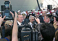 US Navy 060114-D-2006A-001 The forty-first U.S. President George H.W. Bush, meets the press following his keynote address at the commissioning of the amphibious transport dock ship USS San Antonio (LPD 17) on board Naval Statio.jpg