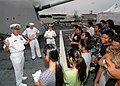 US Navy 061101-N-0879R-004 From the bow of the Pearl Harbor-based guided-missile destroyer USS Hopper (DDG 70), students from Aiea High School learn about the ship and the Navy's mission.jpg