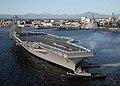 US Navy 070530-N-5384B-235 Sailors man the rails as Nimitz-class aircraft carrier USS Abraham Lincoln (CVN 72) pulls into her homeport at Naval Station Everett.jpg