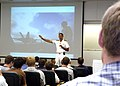 US Navy 070911-N-5208T-010 Rear Adm. Scott R. Van Buskirk, commander of Carrier Strike Group 9, tells engineering Brigham Young University students about Utah Navy Week, one of 26 Navy Weeks in America this year.jpg