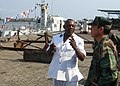 US Navy 100302-N-6138K-262 Vice Adm. Harry B. Harris Jr., right, commander of U.S. 6th Fleet, tours Cameroon navy facilities in the southwest province of Cameroon.jpg